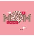 Mothers day card with two cute birds vector image
