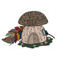 mushroom fungus zen tangle and doodle vector image
