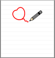 Pencil drawing a heart shap vector image