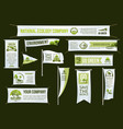 green ecology company advertising icons set vector image