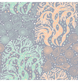 Seamless pattern with algae and seashells vector