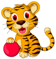 cute baby tiger posing with pink ball vector image