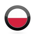 flag of poland shiny black round button vector image