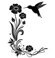 Flowers with hummingbird vector image