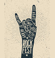rock festival poster rock and roll hand sign vector image
