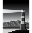 Night landscape with detailed lighthouse mountains vector image vector image