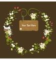 Floral Frame Vintage Message Wood Card Spring vector image