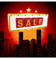Sale sign over abstract cityscape vector image
