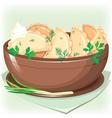 Dumpling sifting greens vector image