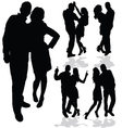 couple man and woman in love black silhouette vector image