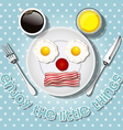 smiling mouse make with fried eggs and bacon vector image