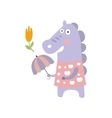 Violet Horse In Pink Polka-dotted Top With