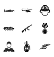 Weapons icons set simple style vector image