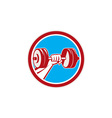 Hand Lifting Dumbbell Front Circle Retro vector image vector image