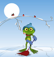 Frog with a shovel vector