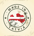Stamp with map flag of Latvia vector image