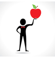 Man holding a apple vector image