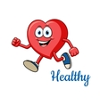 Running healthy red heart character vector image