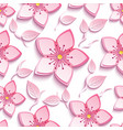 seamless pattern with pink sakura and leaf vector image