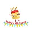 Birthday Cake And Paper Garland Kids Birthday vector image