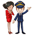 A simple drawing of an air hostess and a pilot vector image