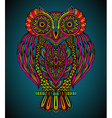 Colorful hand drawn ornate owl in zentangle style vector image