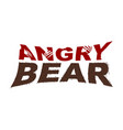 angry bear emblem bite letters fur typography vector image