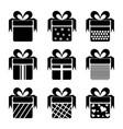 black gift box icons vector image