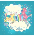 Card with a cute unicorns rainbow in the clouds vector image