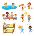 Cartoon set of kids on vacation in summer camp vector image