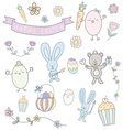happy easter hand drawn cute pastel set vector image