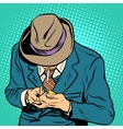Male smoker pop art retro style vector image