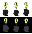 men heads with light bulb idea symbols eps10 vector image