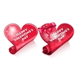 Two valentine heart vector image