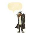 cartoon man in hat and trench coat with speech vector image