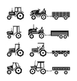 Tractors icons set vector image vector image