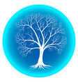 abstract winter tree with bare branches on a blue vector image