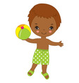 Little African American Boy with Ball vector image