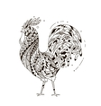 Rooster inspired zentangle style vector image