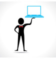 Man holding a laptop vector image