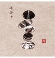 pebble zen stones balance on vintage background vector image