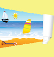 beach paradise with tearing paper vector image