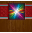 wooden background with rainbow vector image