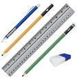 Carbon pencil Pencil eraser ruler and pen isolated vector image