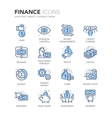 Blue Line Finance Icons vector image