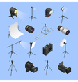 Photo Studio Equipment Isometric Icons Set vector image