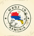 Stamp with map flag of Armenia vector image