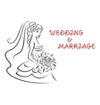 Wedding background with pretty bride vector image