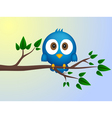 Blue bird sitting on twig vector image vector image