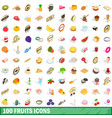100 fruits icons set isometric 3d style vector image